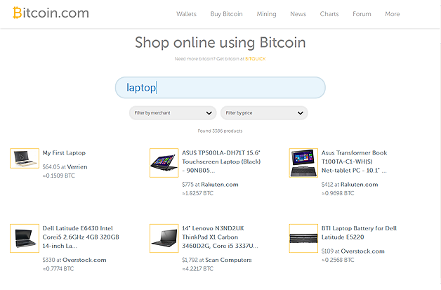 [Screenshot of search results at Bitcoin.com]
