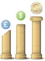 [Pound, Dollar, and Bitcoin on Pillars]